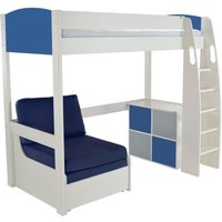 Product photograph showing Stompa Blue High Sleeper Bed With Chair And 1 Cube Unit