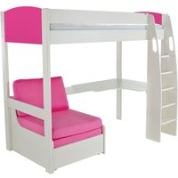 Product photograph showing Stompa Pink High Sleeper Bed With Desk And Chair