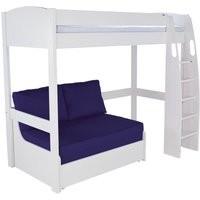 Product photograph showing Stompa High Sleeper With Double Sofa Bed - White And Blue
