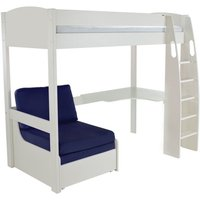 Product photograph showing Stompa High Sleeper Bed With Desk And Chair - White And Blue