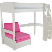 Product photograph showing Stompa High Sleeper Bed With Desk And Chair - White And Pink