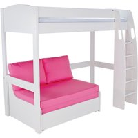 Product photograph showing Stompa High Sleeper With Double Sofa Bed - White And Pink