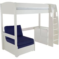 Product photograph showing Stompa High Sleeper Bed With Chair And 1 Cube Unit - White And Blue