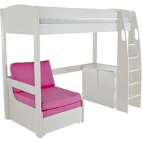 Product photograph showing Stompa High Sleeper Bed With Chair And 1 Cube Unit - White And Pink