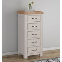 Product photograph showing Clarion Oak And Grey Painted 5 Drawer Tall Chest