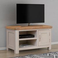 Product photograph showing Clarion Oak And Grey Painted Small Tv Unit