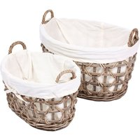 Product photograph showing The Wicker Merchant Oval Lined Laundry Baskets With Weaving Set Of 2