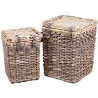 Product photograph showing The Wicker Merchant Square Lined Laundry Baskets Set Of 2