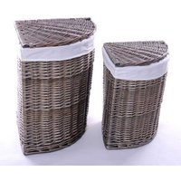 Product photograph showing The Wicker Merchant Ash Grey Corner Laundry Basket Set Of 2