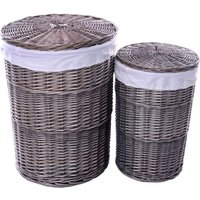 Product photograph showing The Wicker Merchant Ash Grey Round Laundry Basket Set Of 2