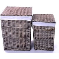 Product photograph showing The Wicker Merchant Ash Grey Square Laundry Basket Set Of 2