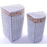 Product photograph showing The Wicker Merchant White Corner Laundry Basket Set Of 2