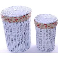 Product photograph showing The Wicker Merchant White Round Laundry Basket Set Of 2