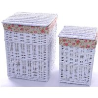 Product photograph showing The Wicker Merchant White Square Laundry Basket Set Of 2