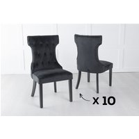 Product photograph showing Set Of 10 Courtney Black Velvet Fabric Dining Chair