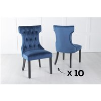 Product photograph showing Set Of 10 Courtney Blue Velvet Fabric Dining Chair