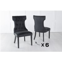 Product photograph showing Set Of 6 Courtney Black Velvet Fabric Dining Chair