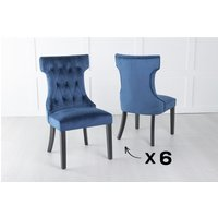 Product photograph showing Set Of 6 Courtney Blue Velvet Fabric Dining Chair