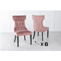 Product photograph showing Set Of 6 Courtney Pink Velvet Fabric Dining Chair