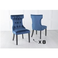 Product photograph showing Set Of 8 Courtney Blue Velvet Fabric Dining Chair