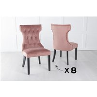 Product photograph showing Set Of 8 Courtney Pink Velvet Fabric Dining Chair