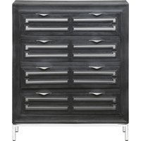 Product photograph showing Urban Deco Geo Black Mirrored And Stainless Steel Chrome Base 4 Drawer Tall Boy Chest