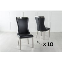 Product photograph showing Set Of 10 Maison Black Faux Leather Dining Chair With Chrome Legs