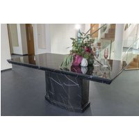Product photograph showing Urban Deco Naples Black Marble 200cm Rectangular Dining Table
