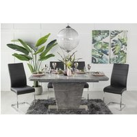 Click to view product details and reviews for Urban Deco Rimini Ceramic Effect Grey Glass 160 200cm Dining Table and 6 Malibu Black Chairs.