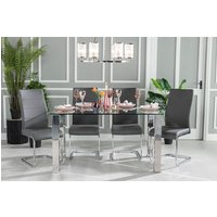 Click to view product details and reviews for Urban Deco Sophia 90cm Glass and Chrome Dining Table.