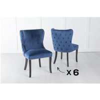 Product photograph showing Set Of 6 Vera Blue Velvet Back Tufted Dining Chair With Black Legs