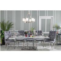 Click to view product details and reviews for Urban Deco Vortex 8 Seater Dining Table Grey Marble and Stainless Steel Chrome.