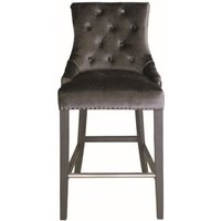 Product photograph showing Vida Living Belvedere Charcoal Velvet Knockerback Bar Chair