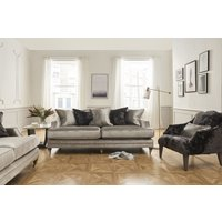 Product photograph showing Vida Living Belvedere Pewter Velvet 4 Seater Sofa With 5 Scatter