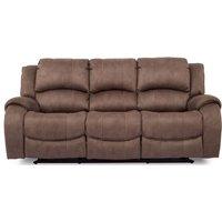 Vida Living Darwin Biscuit Fabric 3 Seater Recliner Sofa