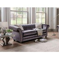 Product photograph showing Vida Living Giselle Charcoal Velvet 3 Seater Sofa