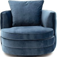 Product photograph showing Vida Living Jools Blue Velvet Swivel Chair