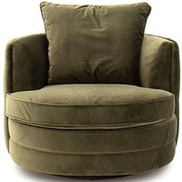 Product photograph showing Vida Living Jools Olive Velvet Swivel Chair