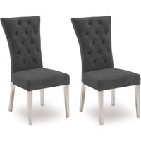 Product photograph showing Vida Living Pembroke Charcoal Velvet And Stainless Steel Chrome Dining Chair Pair