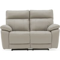 Product photograph showing Vida Living Positano Light Grey Leather 2 Seater Electric Recliner Sofa
