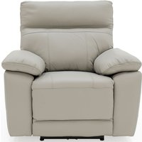 Product photograph showing Vida Living Positano Light Grey Leather Electric Recliner Armchair