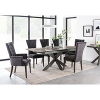 Product photograph showing Vida Living Valerius 170cm-220cm Grey Extending Dining Table And Charcoal Velvet Chairs
