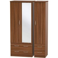 Click to view product details and reviews for Avon Noche Walnut Triple Wardrobe with Drawer and Mirror.
