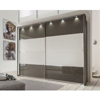 Product photograph showing Wiemann Limara Sliding Wardrobe In Champagne And Line 1 And 4 In Havana Glass - W 300cm