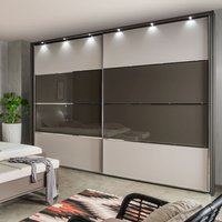 Product photograph showing Wiemann Limara Sliding Wardrobe In Champagne And Line 2 And 3 In Havana Glass - W 300cm