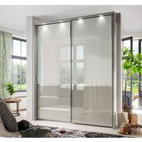 Product photograph showing Wiemann Misura 2 Door Sliding Wardrobe In White And Pebble Grey Glass - W 165cm