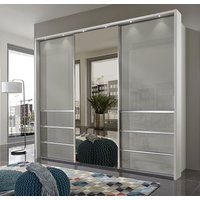 Product photograph showing Wiemann Misura 3 Door Mirror Sliding Wardrobe In White And Pebble Grey Glass - W 250cm