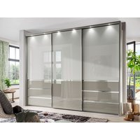 Product photograph showing Wiemann Misura 3 Door Sliding Wardrobe In White And Pebble Grey Glass - W 300cm