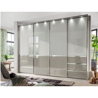 Product photograph showing Wiemann Misura 4 Door Sliding Wardrobe In White And Pebble Grey Glass - W 330cm