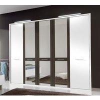 Product photograph showing Wiemann Portland 5 Door Mirror Wardrobe In White And Havana - W 250cm